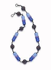 Denim Combo Necklace by Sheila Fernekes (Glass & Clay Necklace)