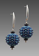 Blue Orb Earrings by Sheila Fernekes (Glass Bead Earrings)