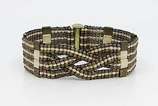 Bronze Athena Woven Cuff by Sheila Fernekes (Beaded Bracelet)