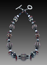 Carmine Graphite Orb Necklace by Sheila Fernekes (Multi Media Necklace)