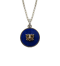 Lapis Pendant with Lotus Inset by Veronica Eckert (Gold, Silver & Stone Necklace)