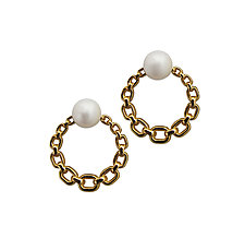 Round Chain Earrings with Pearls by Veronica Eckert (Gold & Pearl Earrings)