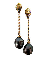 Keshi Nugget Earrings by Veronica Eckert (Gold & Stone Earrings)