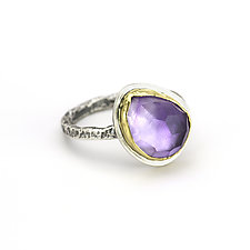 Amethyst Rustic Silver Band Ring by Janet Blake (Gold, Silver & Stone Ring)