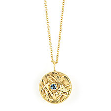 Inverted Dome Pendant with Topaz by Janet Blake (Gold & Stone Necklace)