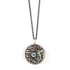 Inverted Dome Pendant with Apatite by Janet Blake (Silver & Stone Necklace)