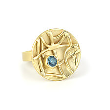 Tangle Inverted Dome Ring with Topaz by Janet Blake (Gold & Stone Ring)