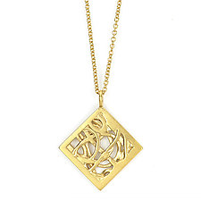 Tangle Rhombus Pendant by Janet Blake (Gold or Silver Necklace)