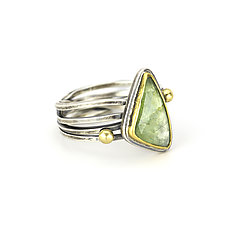 Green Tourmaline Entwined Ring by Janet Blake (Gold, Silver & Stone Ring)