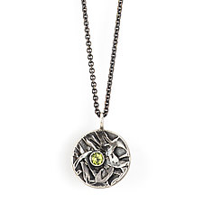 Inverted Dome Pendant with Peridot by Janet Blake (Gold & Stone Necklace)