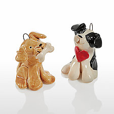 Puppy Party by Cindy Pacileo (Ceramic Ornaments)