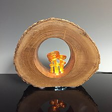 Orange Cup Mushroom Nightlight by Sage Churchill-Foster (Art Glass & Wood Night Light)