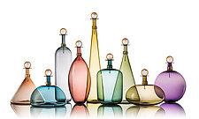 Original Smoky Jewel Bottles by Vetro Vero (Art Glass Bottle)