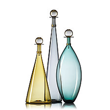 Set of Three Smoky Large Jewel Bottles by Vetro Vero (Art Glass Bottle)