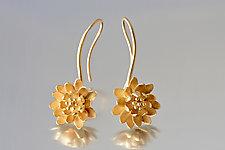 Waterlily Drop Earrings by Elise Moran (Silver Earrings)