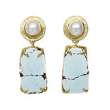 Pearl and Lavender Turquoise Earrings by Amanda Hagerman (Gold, Pearl & Stone Earrings)