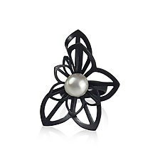 Anise Fold Pearl Ring by Karin Jacobson (Silver & Pearl Ring)