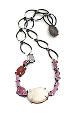 Cobalto Calcite Pendant Necklace by Laura  Wood  (Silver & Stone Necklace)