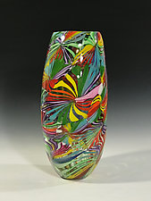 Rainbow Fireworks by John Gibbons (Art Glass Vase)