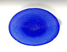 Cobalt Blue Vortex Platter by John Gibbons (Art Glass Platter)