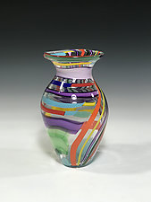 Rainbow Patchwork Vase by John Gibbons (Art Glass Vase)