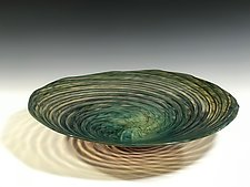 Tide Pool Green Vortex Platter by John Gibbons (Art Glass Platter)