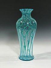 Aqua Green Amphora by John Gibbons (Art Glass Vase)