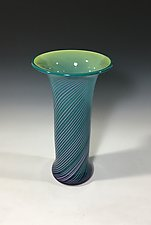Warm Pastels with Aqua, Green, and Amethyst by John Gibbons (Art Glass Vase)