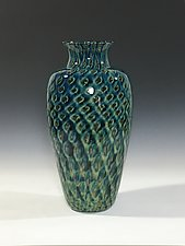Tide Pool Green Vase by John Gibbons (Art Glass Vase)