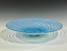 Aqua Vortex Platter by John Gibbons (Art Glass Platter)