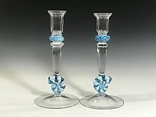 Aqua Nautilus Candlestick Holder by John Gibbons (Art Glass Candleholder)