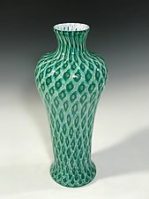 Lagoon Green Amphora Vase by John Gibbons (Art Glass Vase)