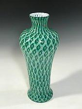 Lagoon Green Amphora Vase by John Gibbons (Art Glass Vase)
