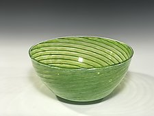 Lime Green Spiral Bowl by John Gibbons (Art Glass Bowl)
