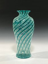 Aqua Blue Green Spiral Vase by John Gibbons (Art Glass Vase)
