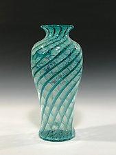 Aqua Blue Green Spiral Vase by John Gibbons (Art Glass Vase)