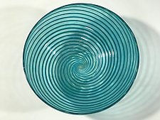 Footed Aqua Spiral Bowl by John Gibbons (Art Glass Bowl)