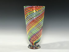 Footed Rainbow Vase by John Gibbons (Art Glass Vase)