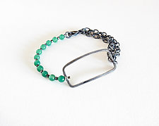 Sterling Silver and Green Onyx Bracelet by Boo Poulin (Silver & Stone Bracelet)