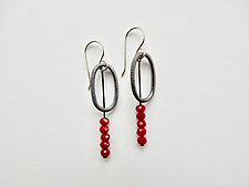 Sterling Silver and Red Glass Bead Dangle Earrings by Boo Poulin (Silver & Stone Earrings)