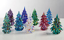 Small Trees with Color on Outside with Ornaments by Danny Polk Jr. (Art Glass Paperweight)