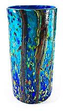 Ocean Forest Cylinder Vase by Danny Polk Jr. (Art Glass Vase)