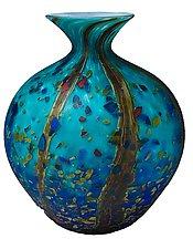 Matte Ocean Forest Jug Vase by Danny Polk Jr. (Art Glass Vase)