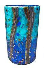 Matte Ocean Forest Cylinder Vase by Danny Polk Jr. (Art Glass Vase)
