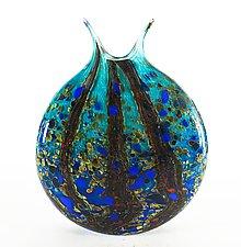Ocean Forest Reactive Series Flat Vase by Danny Polk Jr. (Art Glass Vase)