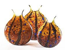 Wild Honey Reactive Series Flat Vase by Danny Polk Jr. (Art Glass Vase)