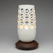 Pierced Ceramic Bullet Lamp with Walnut Base by Lynne Meade (Ceramic Table Lamp)