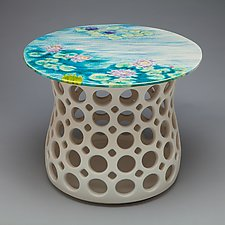 Turquoise/Teal Water Lily Motif Pierced Ceramic Side Table by Lynne Meade (Ceramic Side Table)