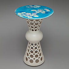 Pierced Segmented Hourglass Ceramic Side Table by Lynne Meade (Ceramic Side Table)