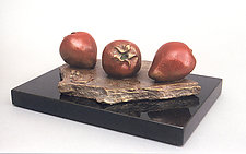 French Lesson 11—Fraises Troises, Three Strawberries by Darlis Lamb (Bronze Sculpture)